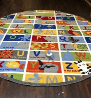 NEW ANIMAL ABC CHILDREN 200X200CM CIRCLE RUGS MATS HOME SCHOOL LEARNING MULTI